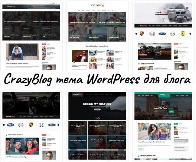 CrazyBlog тема WordPress блога или журнала для AdSense 2020