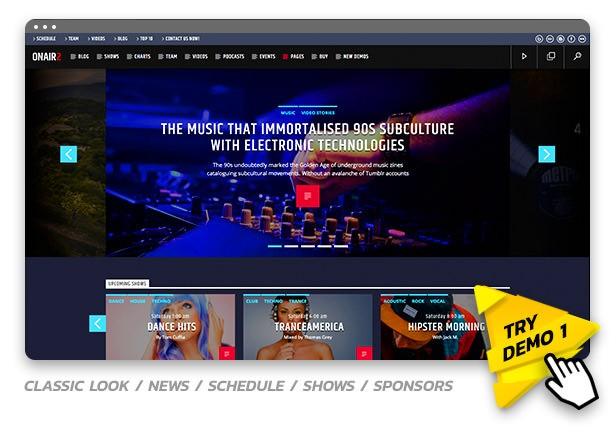 Onair2 - шаблон WordPress для сайта радиостанции с музыкальным плеером 2020