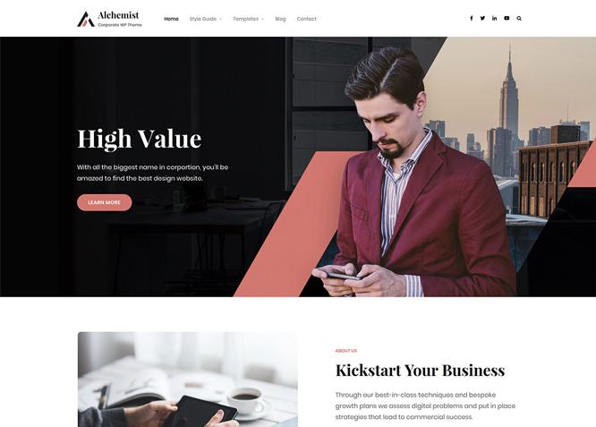 Alchemist - это бесплатная многоцелевая корпоративная тема WordPress