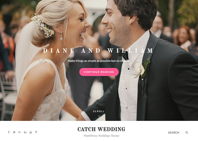 Catch Wedding - это бесплатная, простая, но многофункциональная свадебная тема WordPress