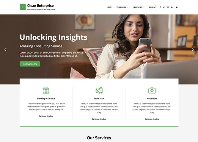 Clean Enterprise - это адаптивная бесплатная корпоративная тема WordPress