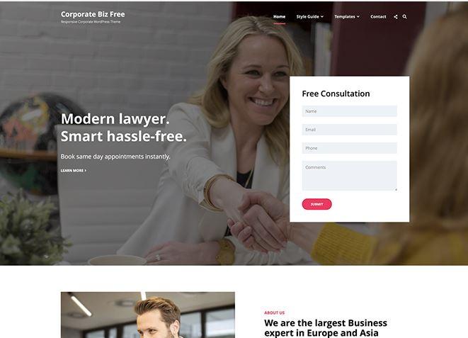 Corporate Biz бесплатный шаблон