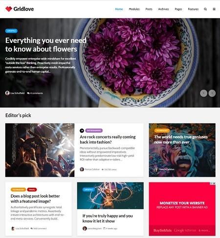 Gridlove - тема WordPress для новостных порталов и журналов 2020