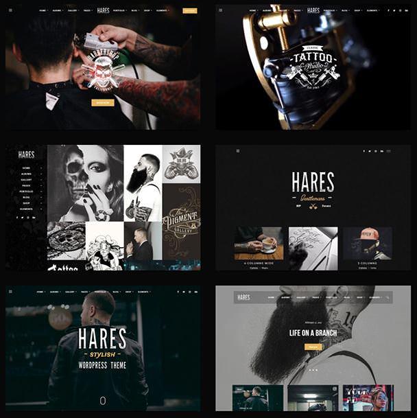 Hares - винтажная и стильная тема WordPress для вашего тату-салона