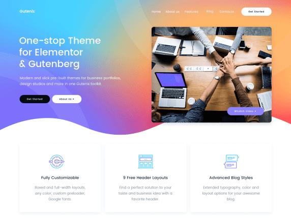 Gutenix - русский бесплатный многоцелевой шаблон WordPress 2020