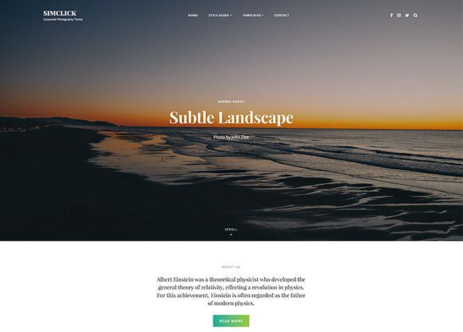 SimClick - это бесплатная тема WordPress для корпоративной фотографии