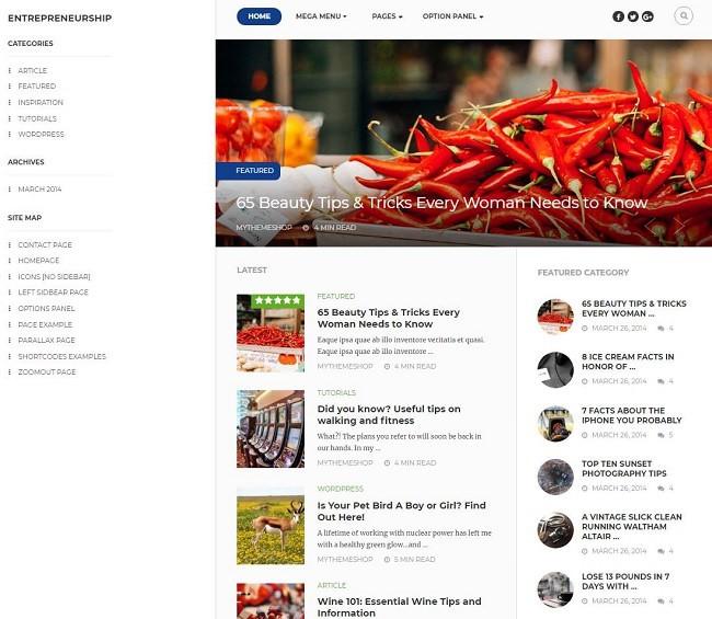 Скриншот entrepreneur темы
