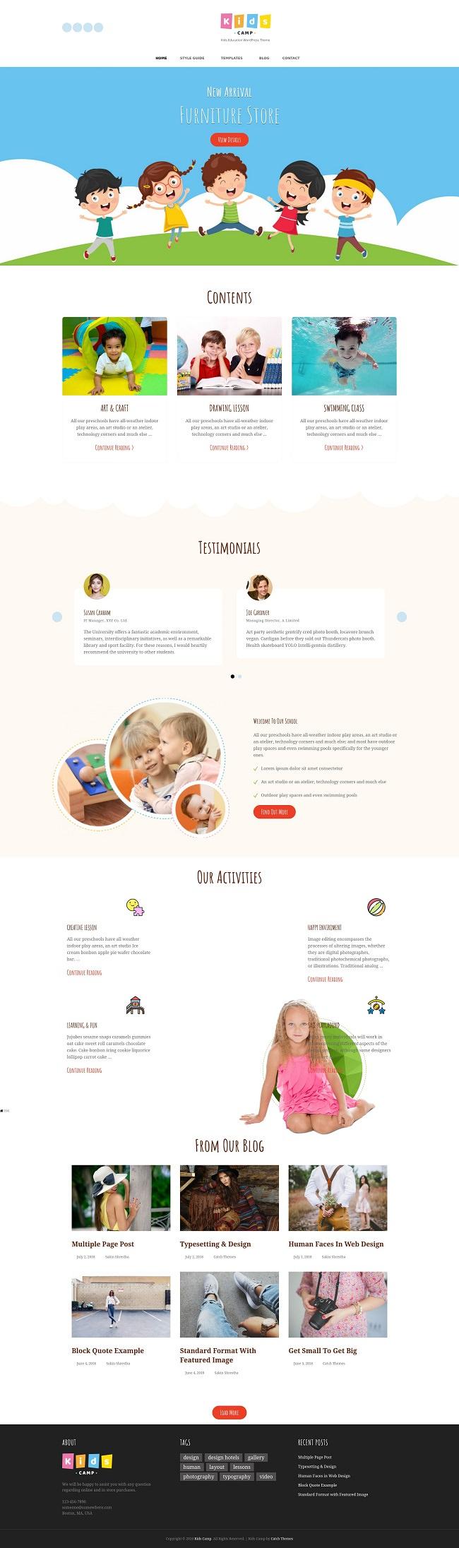 Скринщот сайта на шаблоне Kids Camp