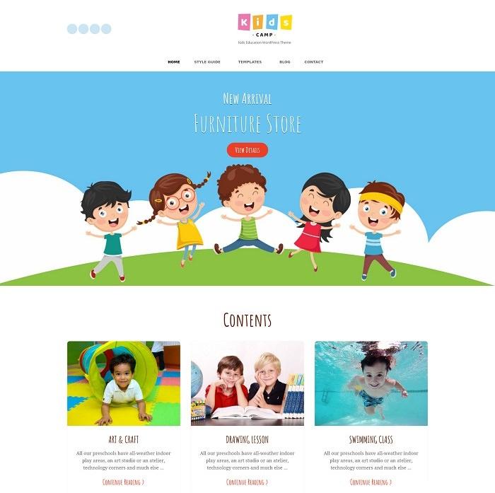 Kids Camp - русская бесплатная детская тема WordPress 2020