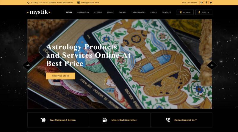 Mystik - тема WordPress для гадания, астрологии и эзотерическому гороскопу