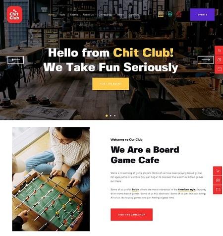Chit Club тема WordPress для сайта клуба настольных игр и антикафе