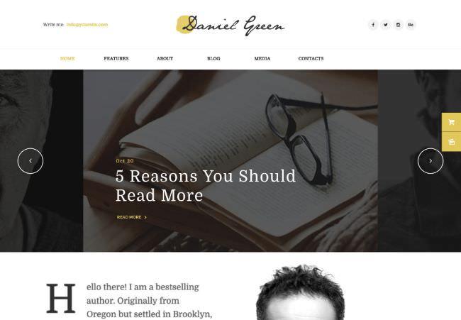 Blog for Writers and Journalists | WordPress шаблон для порфолио и резюме автора
