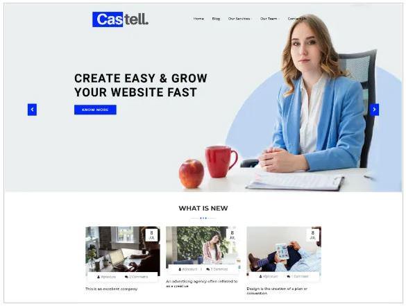 Castell является бесплатным WordPress шаблоном для бизнеса