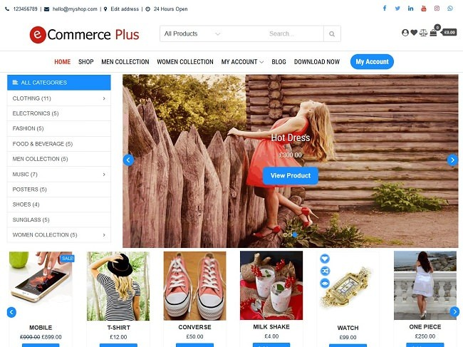 eCommerce Plus - многофункциональный адаптивный WordPress шаблон
