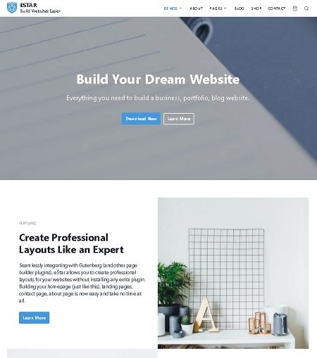 eStar бесплатная сверхбыстрая тема Wordpress для сайта и блога 2021