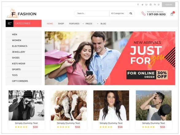 Fashion Estore - бесплатная тема для любителей моды