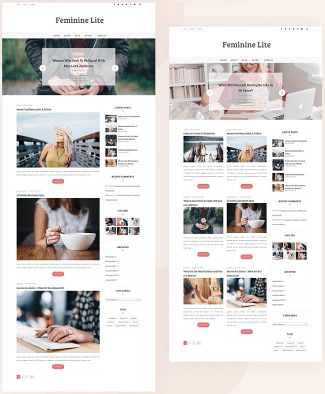 Feminine lite - это красивая, чистая, современная и стильная тема WordPress