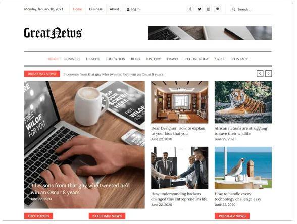 Great News - это чистая и элегантно оформленная многофункциональная тема WordPress