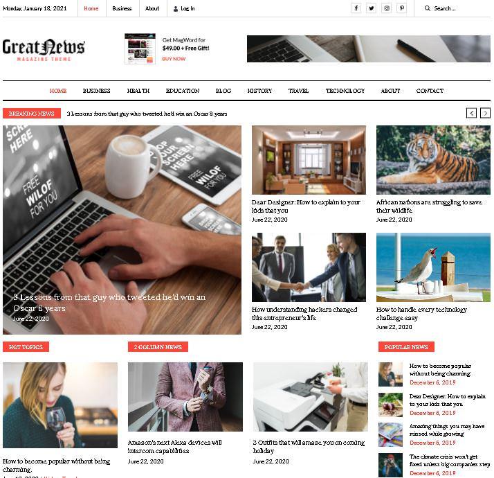 тема WordPress Great News