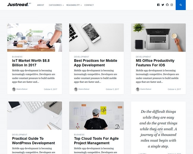 Justread - это минималистичная тема блога WordPress