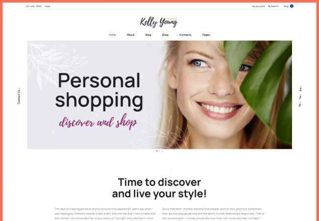Kelly Young | WordPress шаблон для персонального портфолио и резюме стилиста