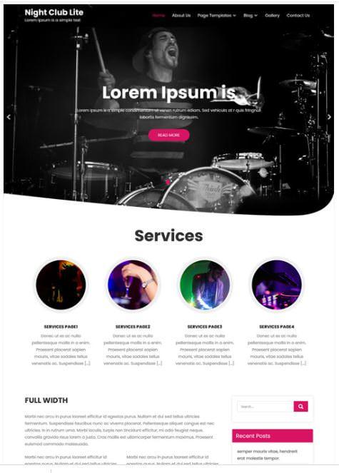 Night Club Lite - это бесплатная музыкальная потоковая тема WordPress