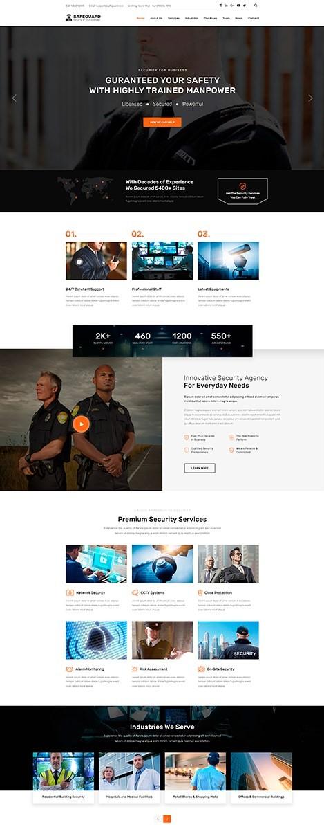 SafeGuard тема WordPress для сайта охранной компании 2021