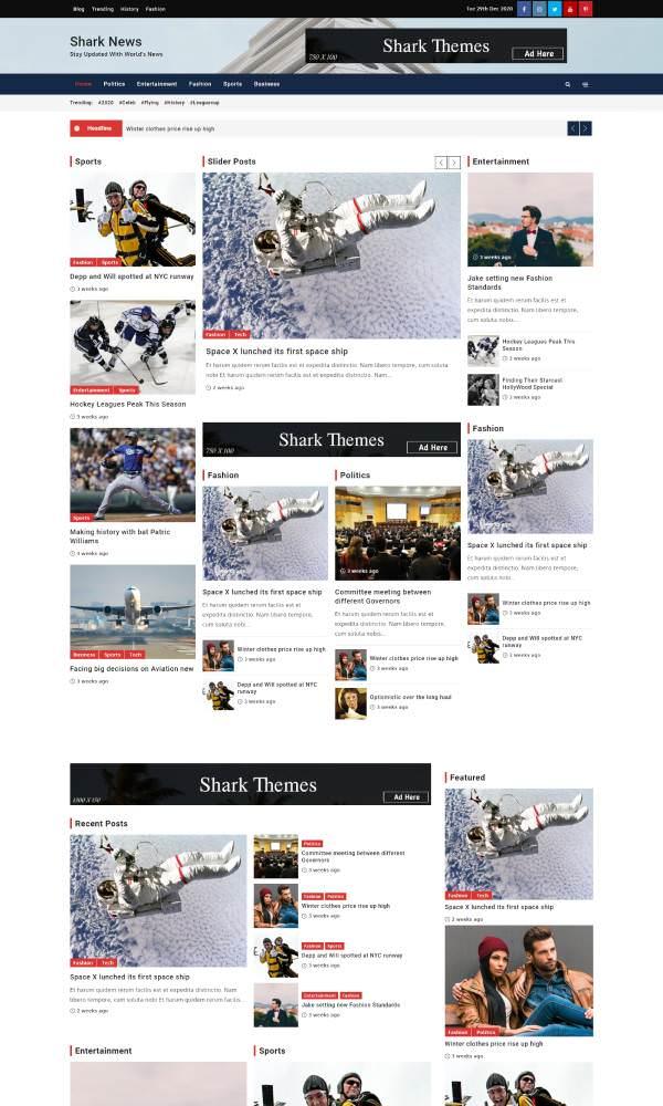 Shark News - это очень динамичная, современная и модная тема для новостей и журнала WordPress
