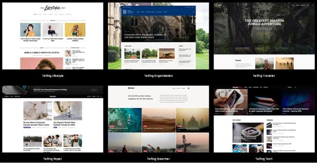 Демо версии шаблона Telling WordPress