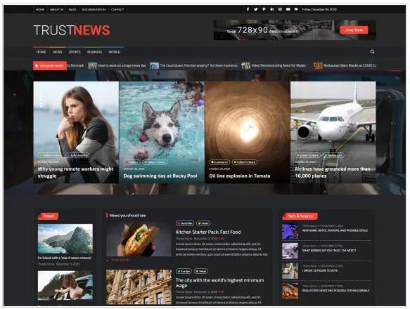 TrustNews - это новый шаблон для новостных сайтов