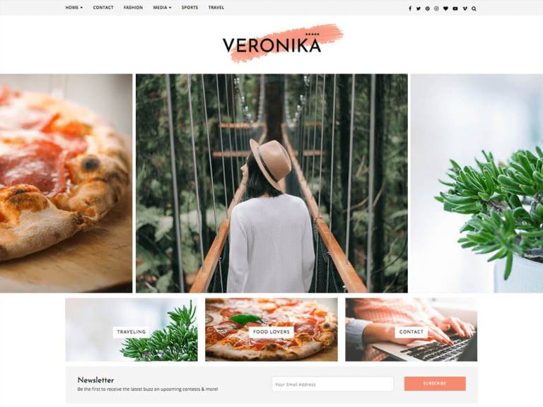 Veronika- очень чистая и простая тема Вордпресс
