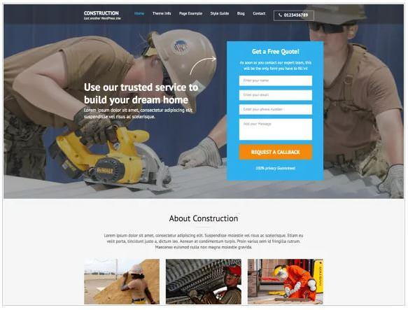 Скриншот шаблона Construction Landing Page