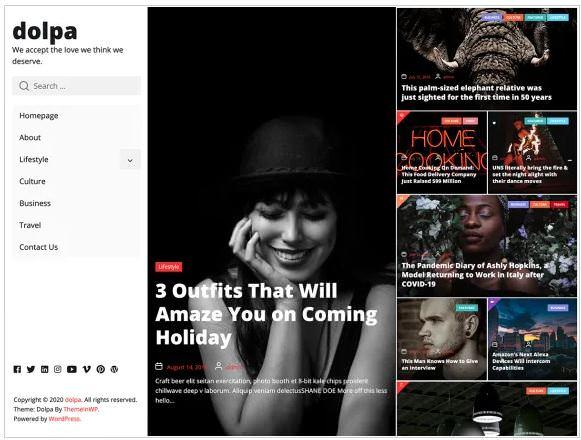 Dolpa - бесплатная тема WordPress, скриншот
