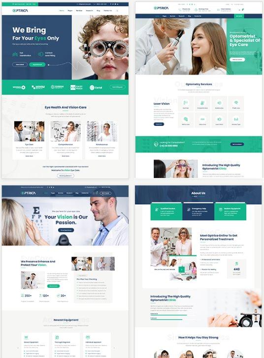 Optrica - премиум тема тема WordPress для всех видов сайтов, связанных с оптометрией