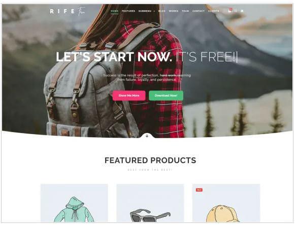 Скриншот шаблона Rife Free