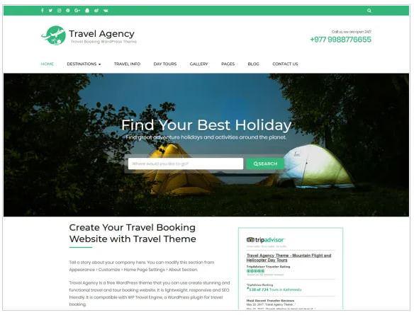 Скриншот бесплатной темы Travel Agency