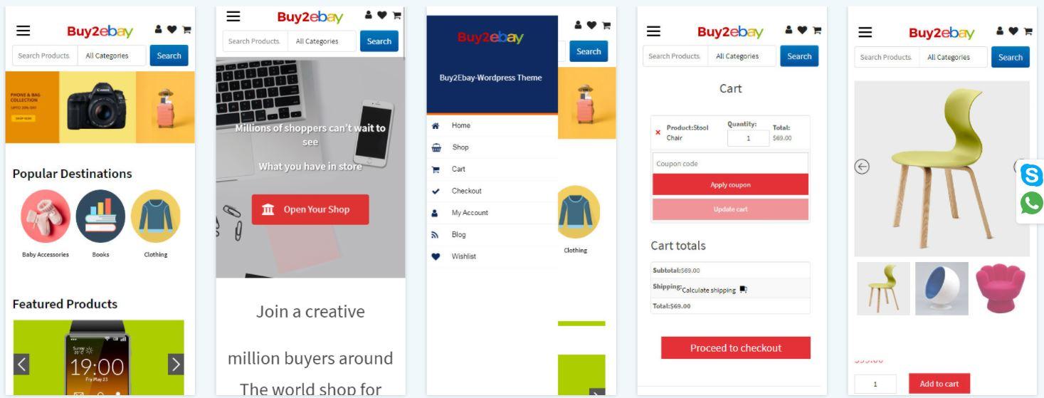 Скриншоты мобильной версии eBay клона