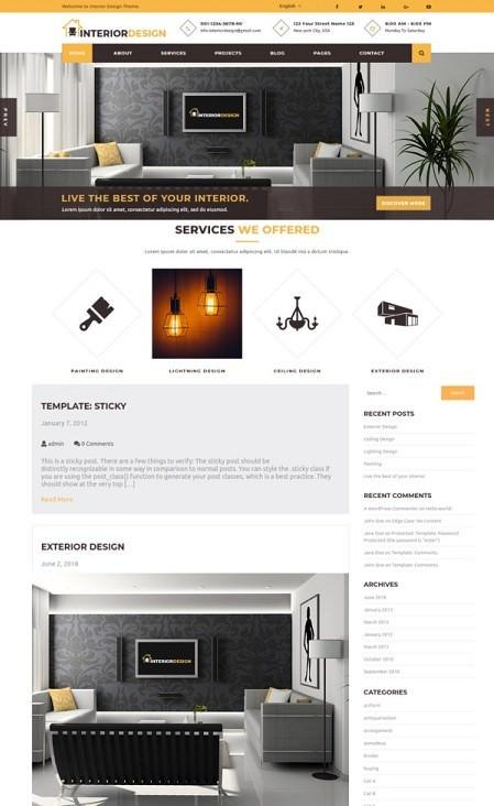 InteriorDesign русская бесплатная тема для интерьера WordPress 2021
