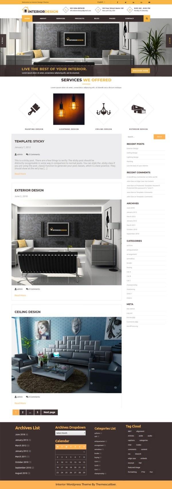 InteriorDesign русская бесплатная тема для интерьера WordPress