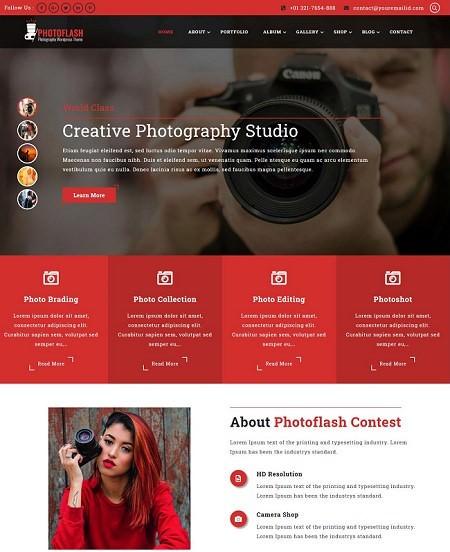 Photoflash русский бесплатный шаблон WordPress для фотографа 2021