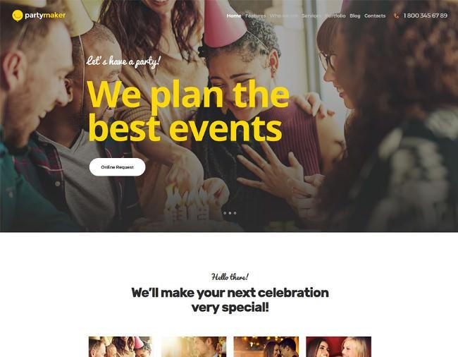 PartyMaker | Event Planner & Wedding Agency WordPress Theme