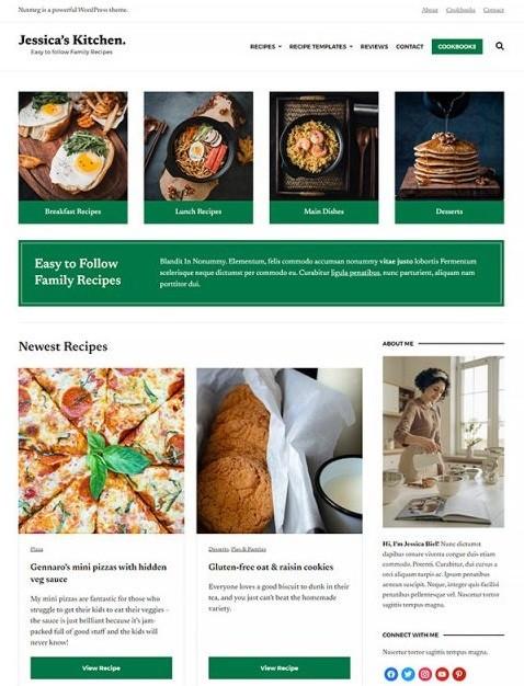 Nutmeg - это бесплатная тема WordPress для фуд-блогов