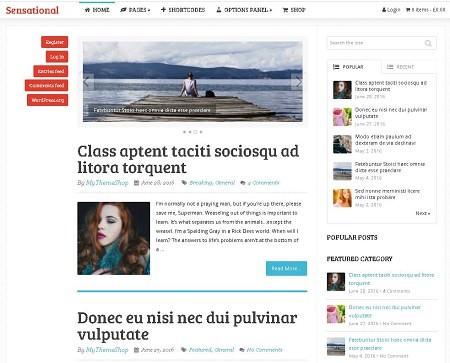 Sensational русский премиум шаблон с демо-контентом бесплатно для журнала
